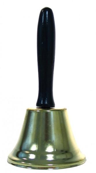 Campana dorada con mango de madera