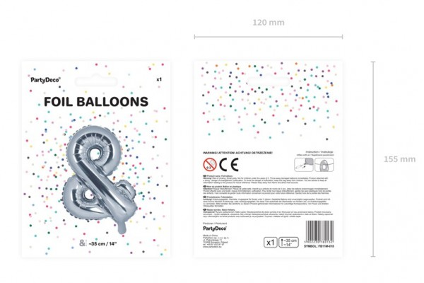 & Signs foil balloon silver 35cm