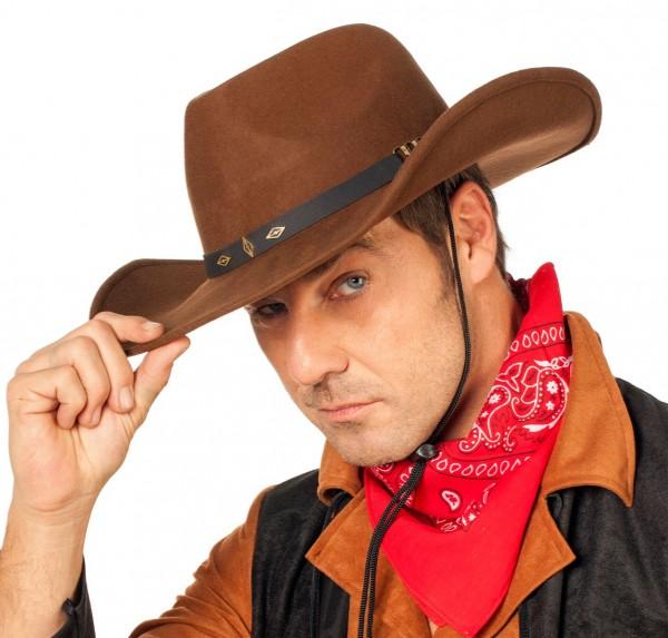 Brauner Cowboyhut Deluxe mit Schwarzem Band