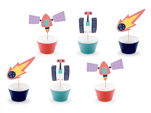 Space party cupcake set 12 pieces