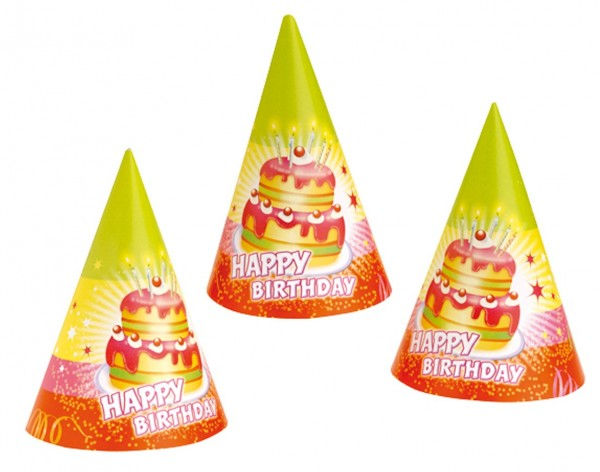 Happy Birthday Party Hat con torta di compleanno Set di 6
