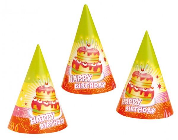 6 Birthday Cake party hats 15cm
