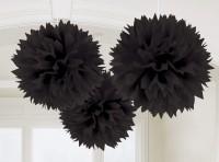 3 Fluffy Pompons Schwarz 40,6cm