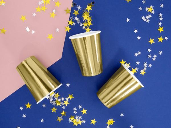 6 kubków papierowych w kolorze metalicznego złota 220ml