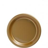 6 Goldene Plastik Teller 17cm