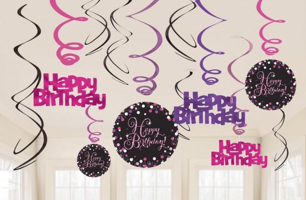 12 Pink Happy Birthday Spiralhänger 60cm