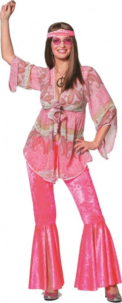 Pink 70s hippie costume for women