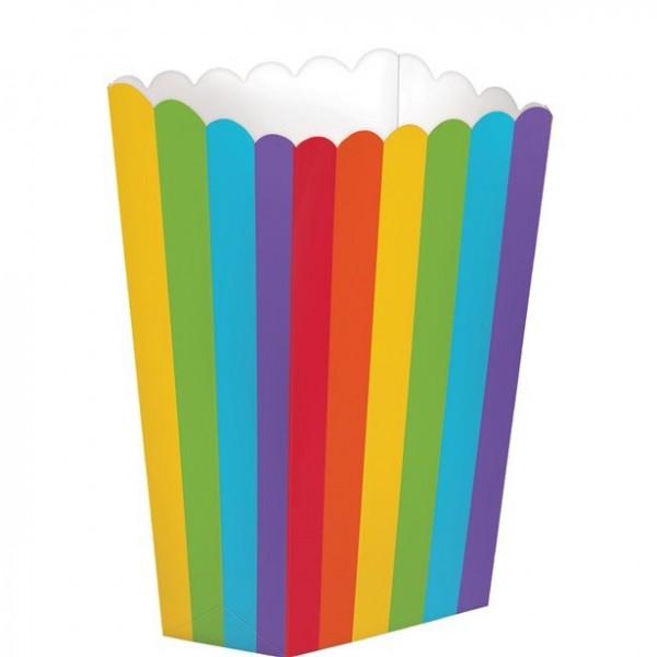 5 rainbow popcorn bags 13cm