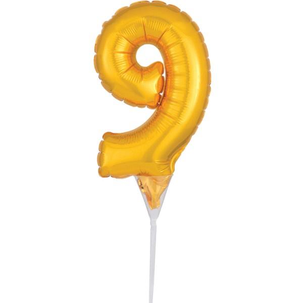 Globo dorado número 9 decoración pastel 15cm