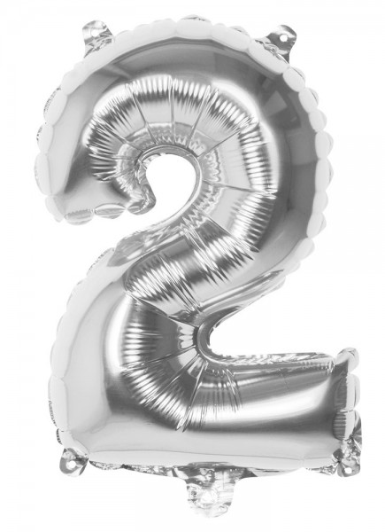 Foil balloon number 2 silver metallic 36cm