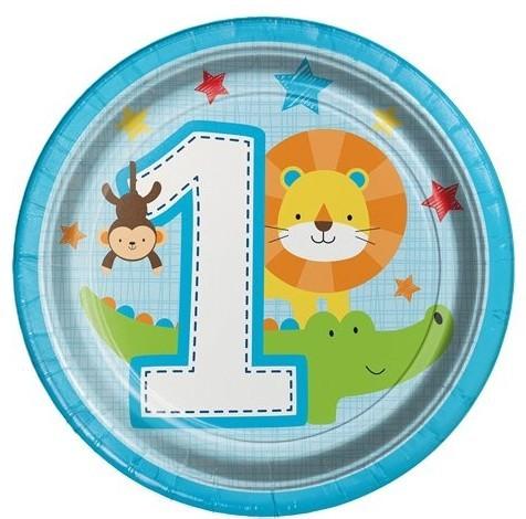 8 Talerz papierowy Animal 1 Urodziny niebieski 18 cm