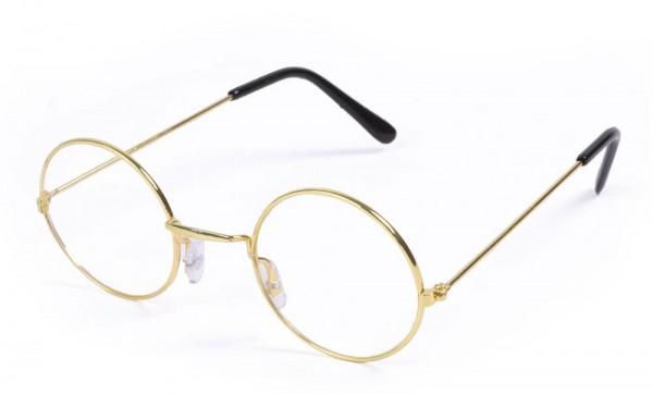 Goldene Rundbrille ohne Gläser