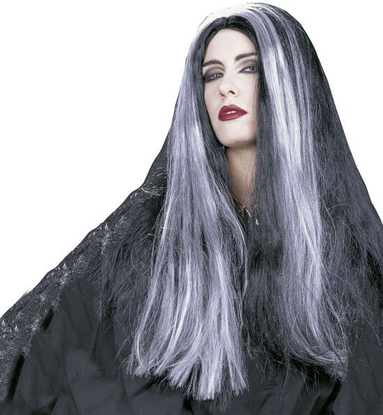 Sexy Hexen Perücke schwarz/grau