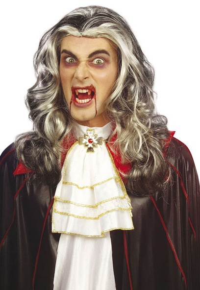 Perruque Halloween vampire Dracula cheveux longs blond argenté