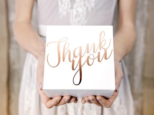 10 cajas de pastel de agradecimiento oro rosa