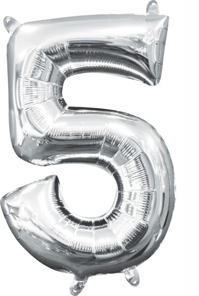 Mini foil balloon number 5 silver 35cm
