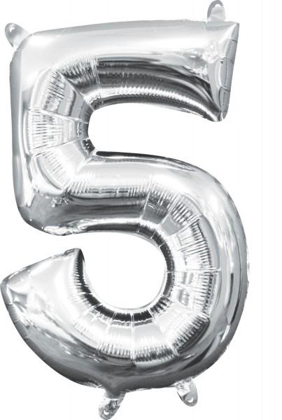 Mini balon foliowy nr 5 srebrny 35cm