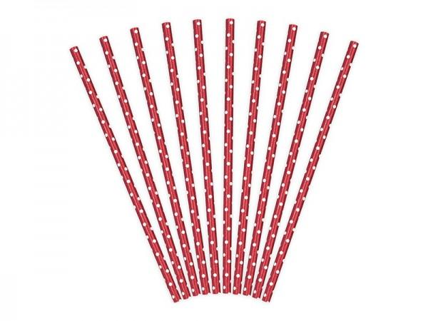 10 stiplede papirstrå røde 19,5 cm