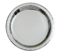 8 Pappteller silber-metallic 17cm
