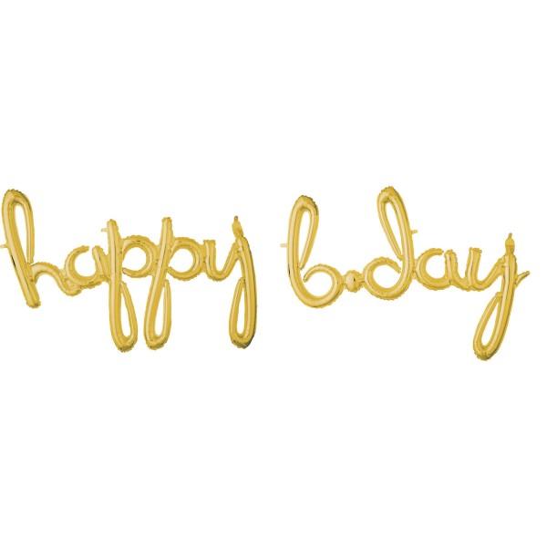 Goldener Happy B-Day Schriftug 88cm
