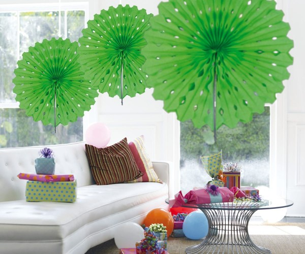 Fan honeycomb green 45cm
