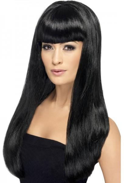 Peruka z długimi włosami czarna premium