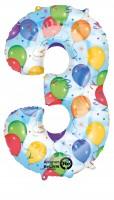 Zahlenballon 3 kunterbunt 88cm