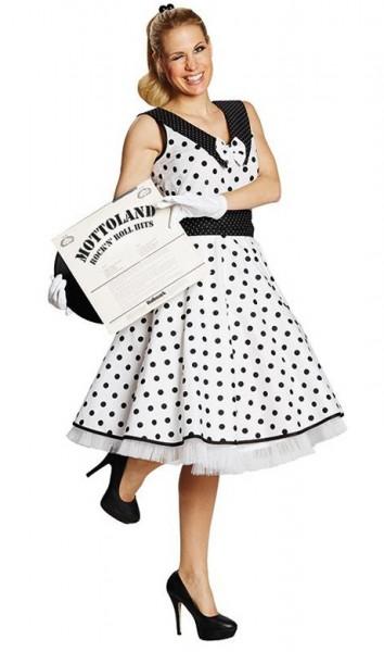 Rockabilly Kleid In Klassichem Weiß-Schwarz