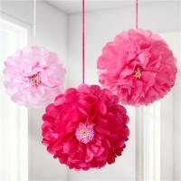 3 Pinke Pompon Blumen Hänger