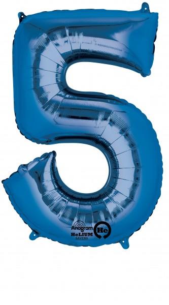 Zahlenballon 5 Blau 86cm