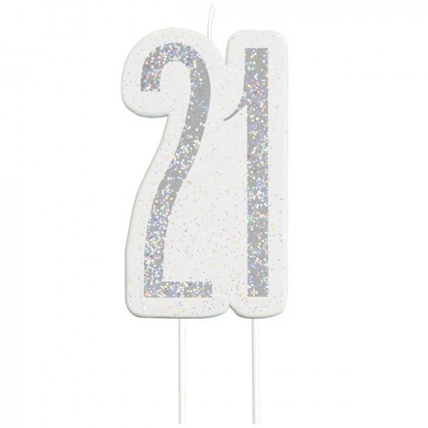 Glittering 21st Birthday cake candle silver