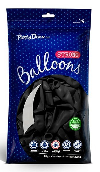 10 party star balloons black 30cm