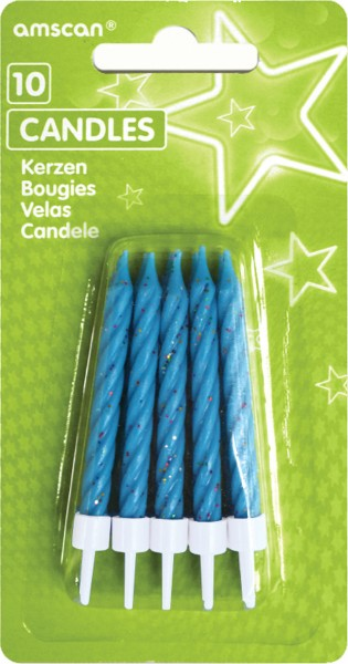 Glittering cake candles sky blue Including holder 10 pieces