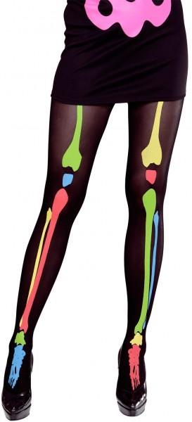 Collants Valeska squelette néon coloré