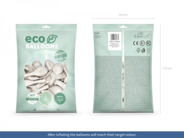 100 globos metalizados Eco blanco perla 26cm