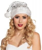 Weiße Glitzer Santagirl Mütze