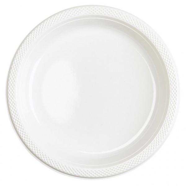 10 plastic plates Mila white 23cm