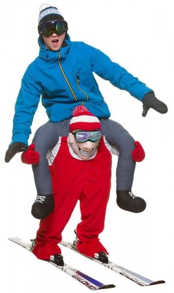 Piggyback op skiër kostuum