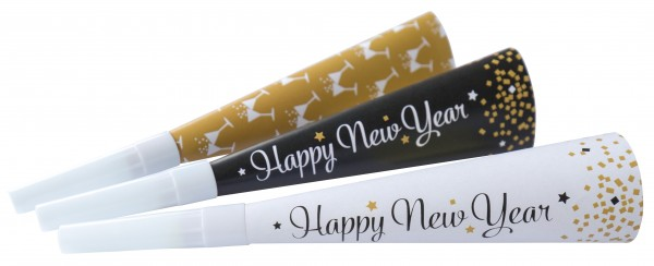 3 Golden New Year Tröten 22cm