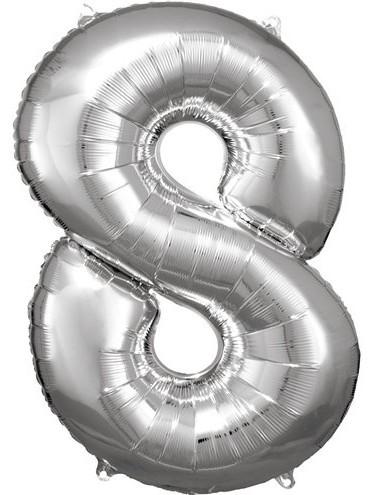 Silberner Nummer 8 Folienballon 86cm