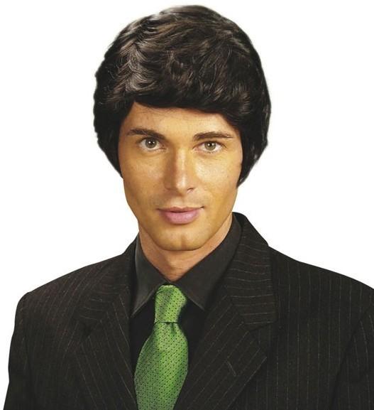 Peluca de pelo corto negra para hombre