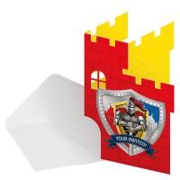 8 Einladungskarten Ritter Wappen
