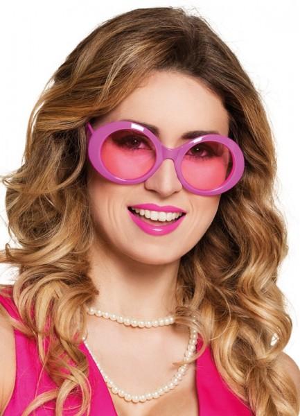 Neon pink round glasses