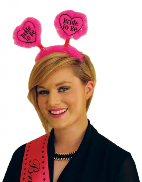 Bachelorette Party Bride To Be Haarreif Pink Mit Flauschigen Herzen