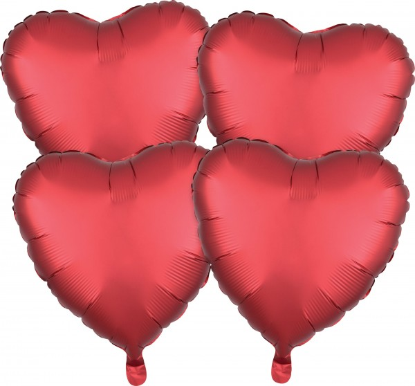 4 red satin heart balloons 43cm