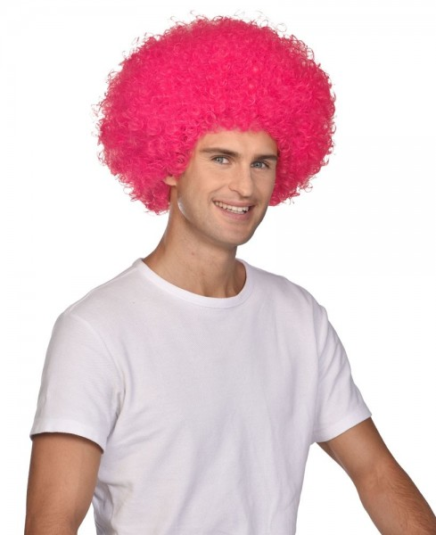 Perruque afro carnaval rose