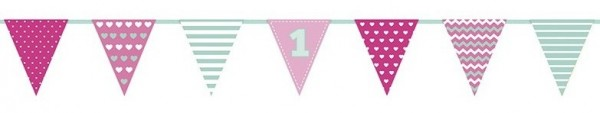 1st Birthday Pennant Necklace Girl 1,35 m