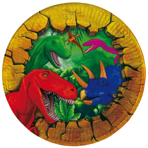 6 platos de papel Dino Adventure 18cm