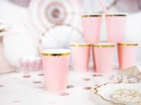 Vorschau: 6 Candy Party Pappbecher hellrosa 220ml