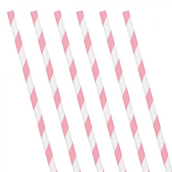 24 striped paper straws light pink 19cm